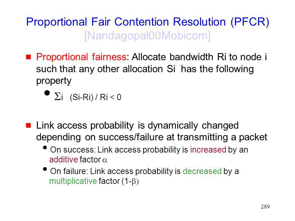 Proportional Fair Contention Resolution (PFCR) [Nandagopal00Mobicom]